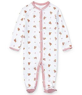Image of Ralph Lauren Childrenswear Baby Girls Newborn Bear Printed Footed Coverall