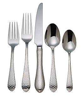 Image of Reed & Barton Hammered Antique Stainless Steel Flatware