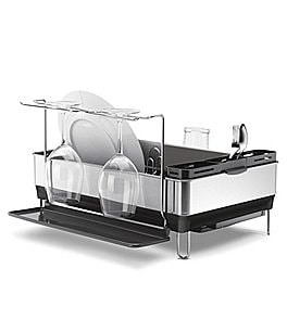 Image of simplehuman Steel Frame Dishrack with Wine Glass Holder