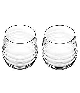 Image of Sophie Conran for Portmeirion Ribbed Balloon Double Old Fashioned Glass Pair