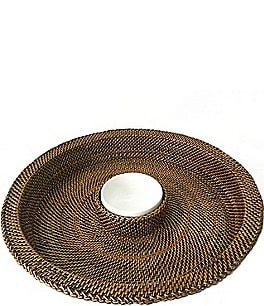 Image of Southern Living Woven Nito & Ceramic Chip & Dip Server