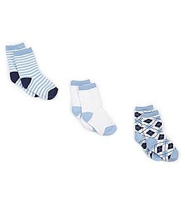 Image of Starting Out Baby Boys Argyle/Stripe Crew Socks 3-Pack