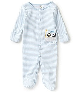 Image of Starting Out Baby Boys Newborn-6 Months Striped Animal Ark Footed Coverall