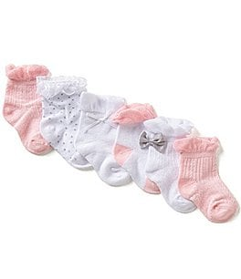 Image of Starting Out Baby Girls 6-Pack Lace And Bow Detailed Crew Socks