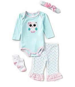 Image of Starting Out Baby Girls Newborn-9 Months Owl 4-Piece Layette Set