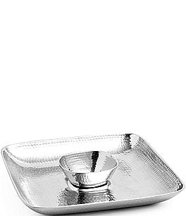 Image of Towle Silversmiths Hammered Chip & Dip Server