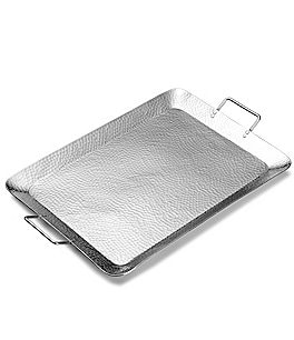 Image of Towle Silversmiths Hammered Metal Rectangular Handled Tray