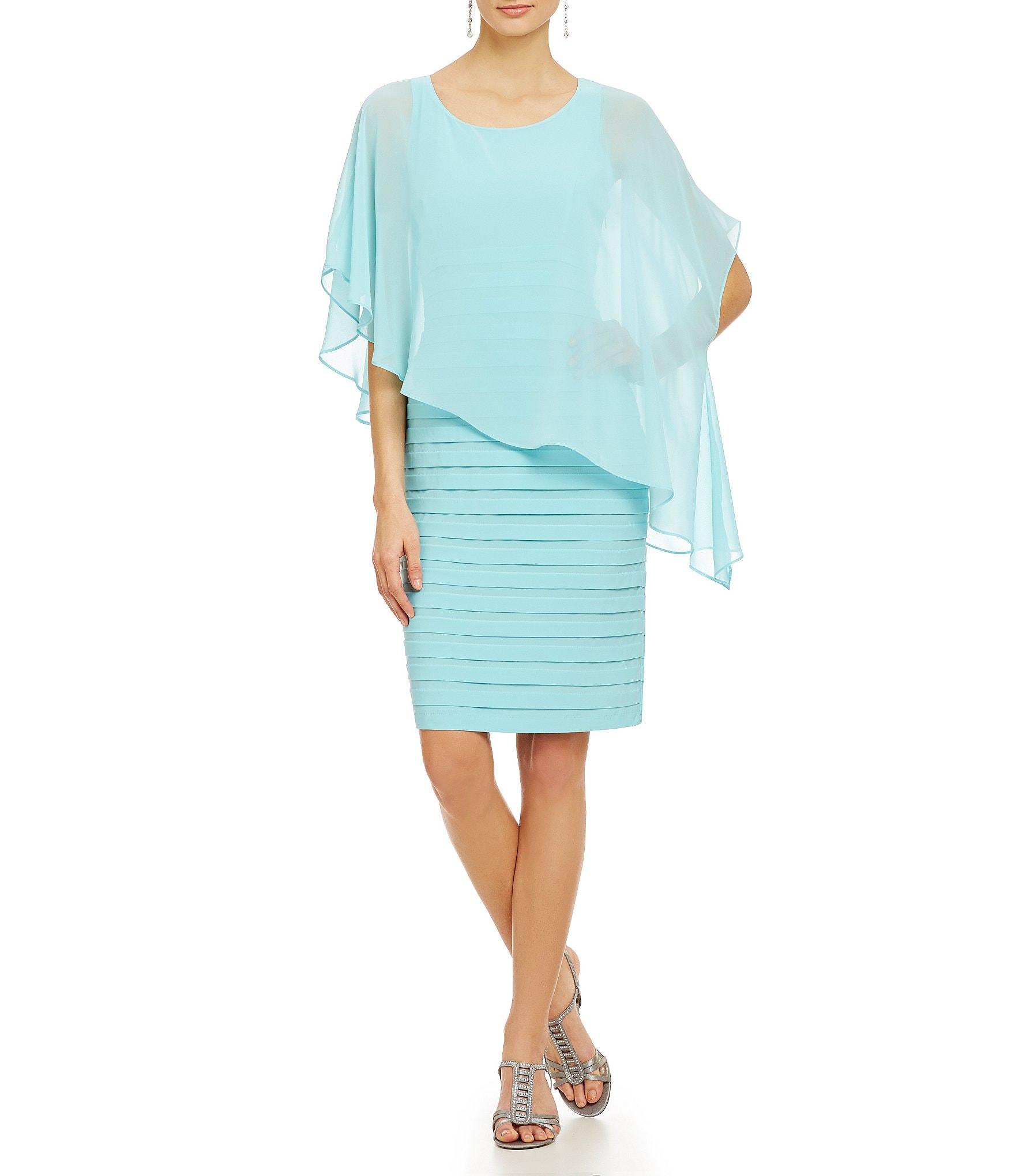 Adrianna Papell Chiffon Overlay Dress Dillards