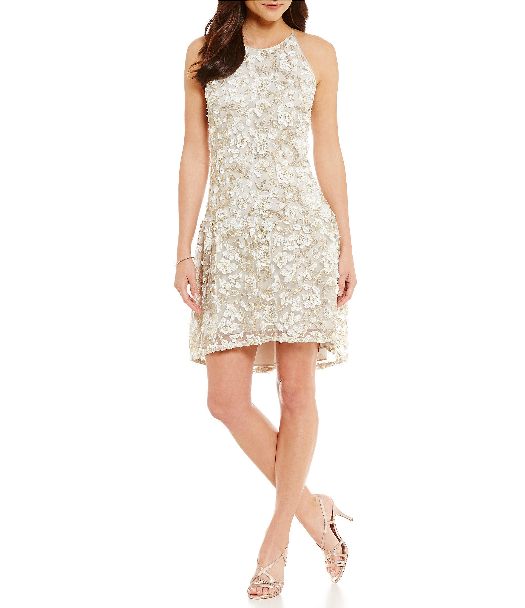 Adrianna Papell Liliana 3D Metallic Lace Hi-Low Dress | Dillards