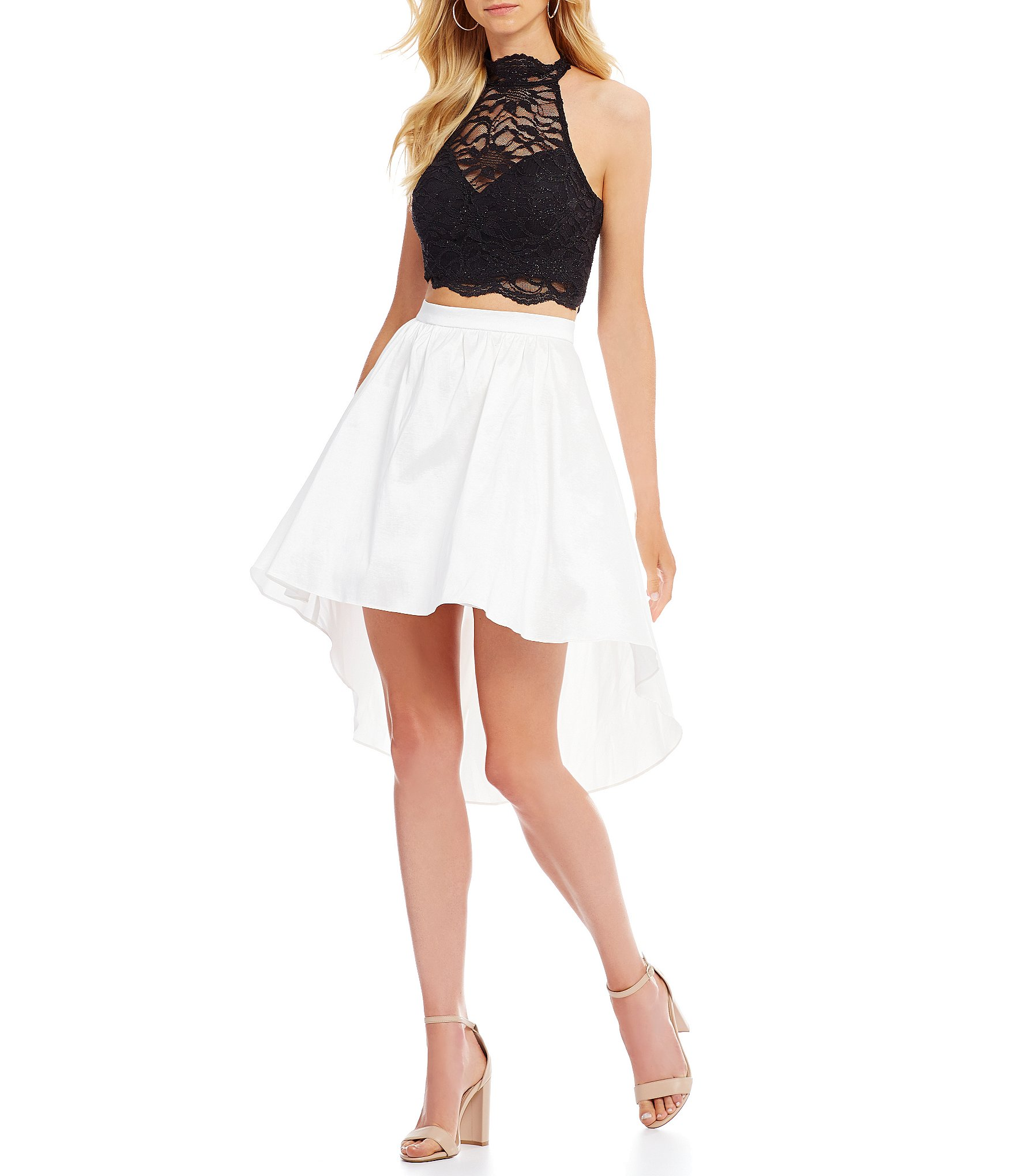 B Darlin Mock Neck Lace Top Two Piece High Low Dress