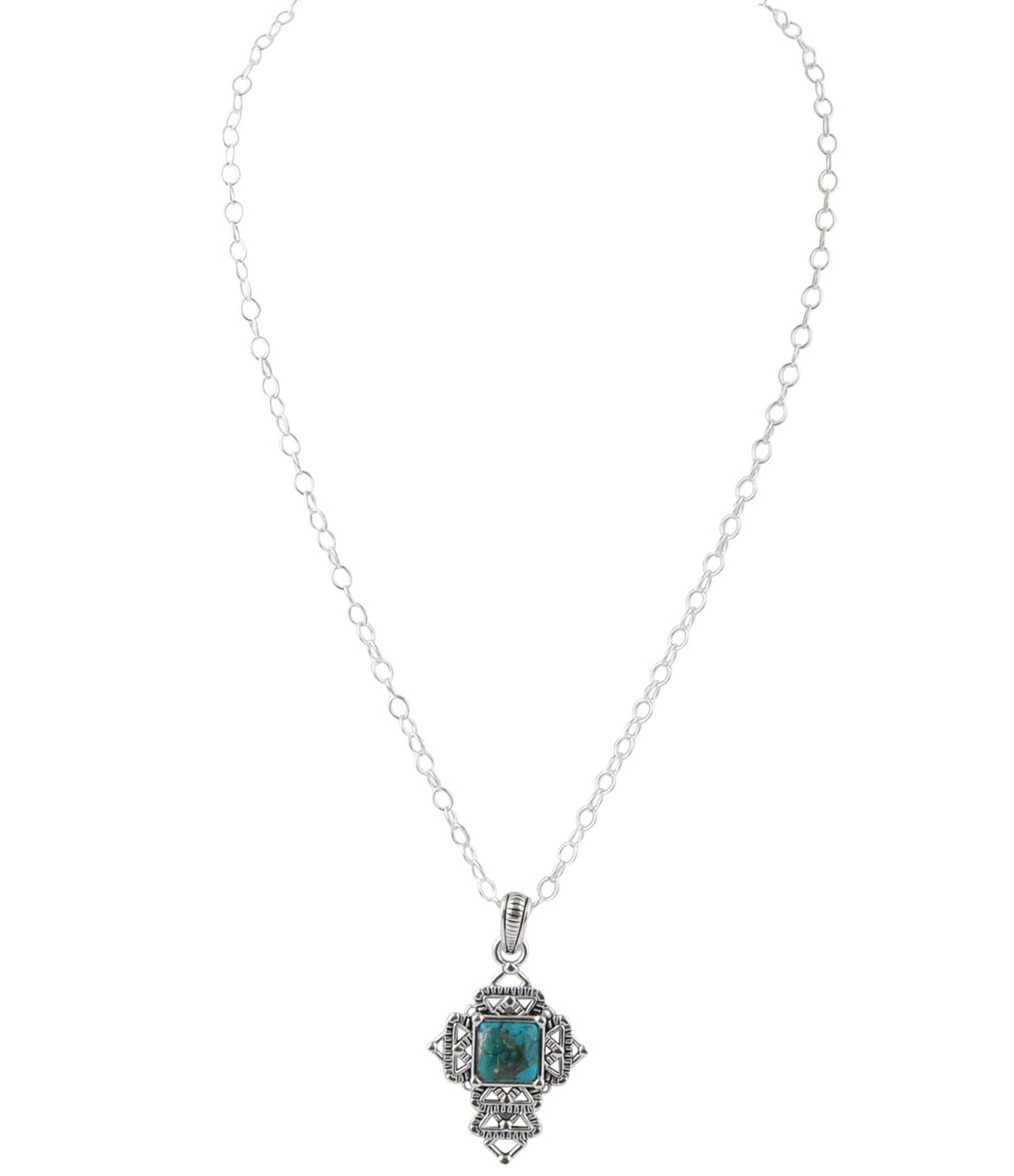 barse sterling silver turquoise cross pendant necklace