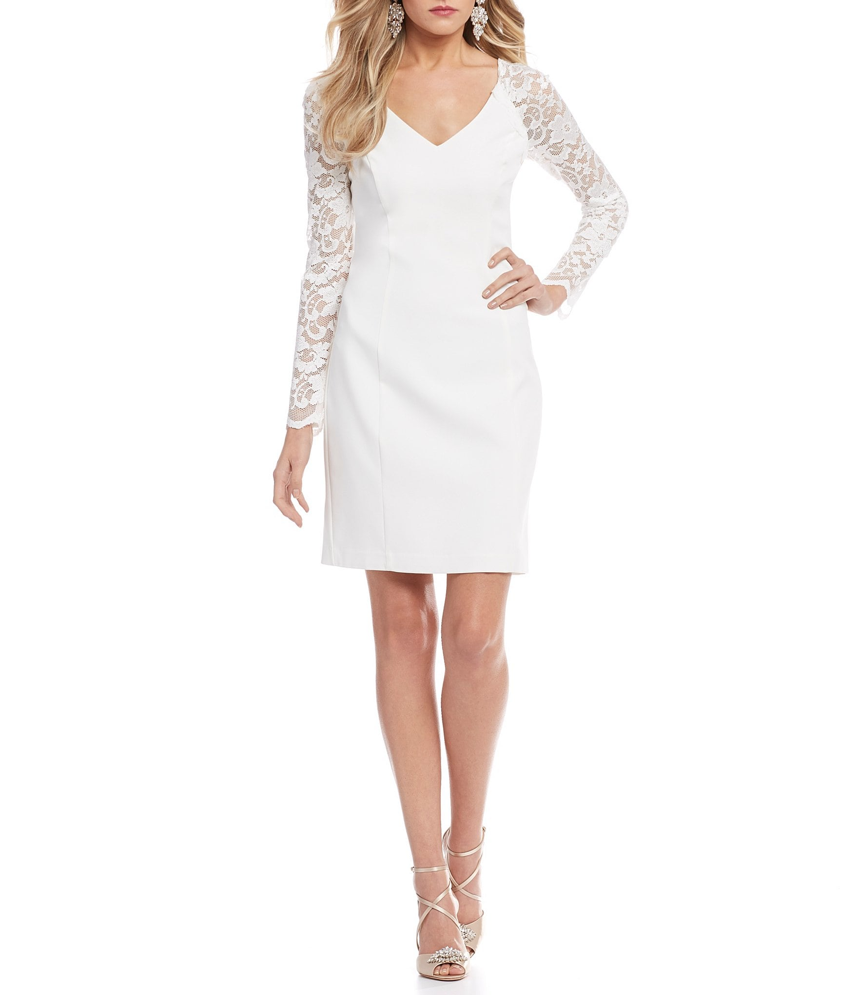 Silver white cocktail dress