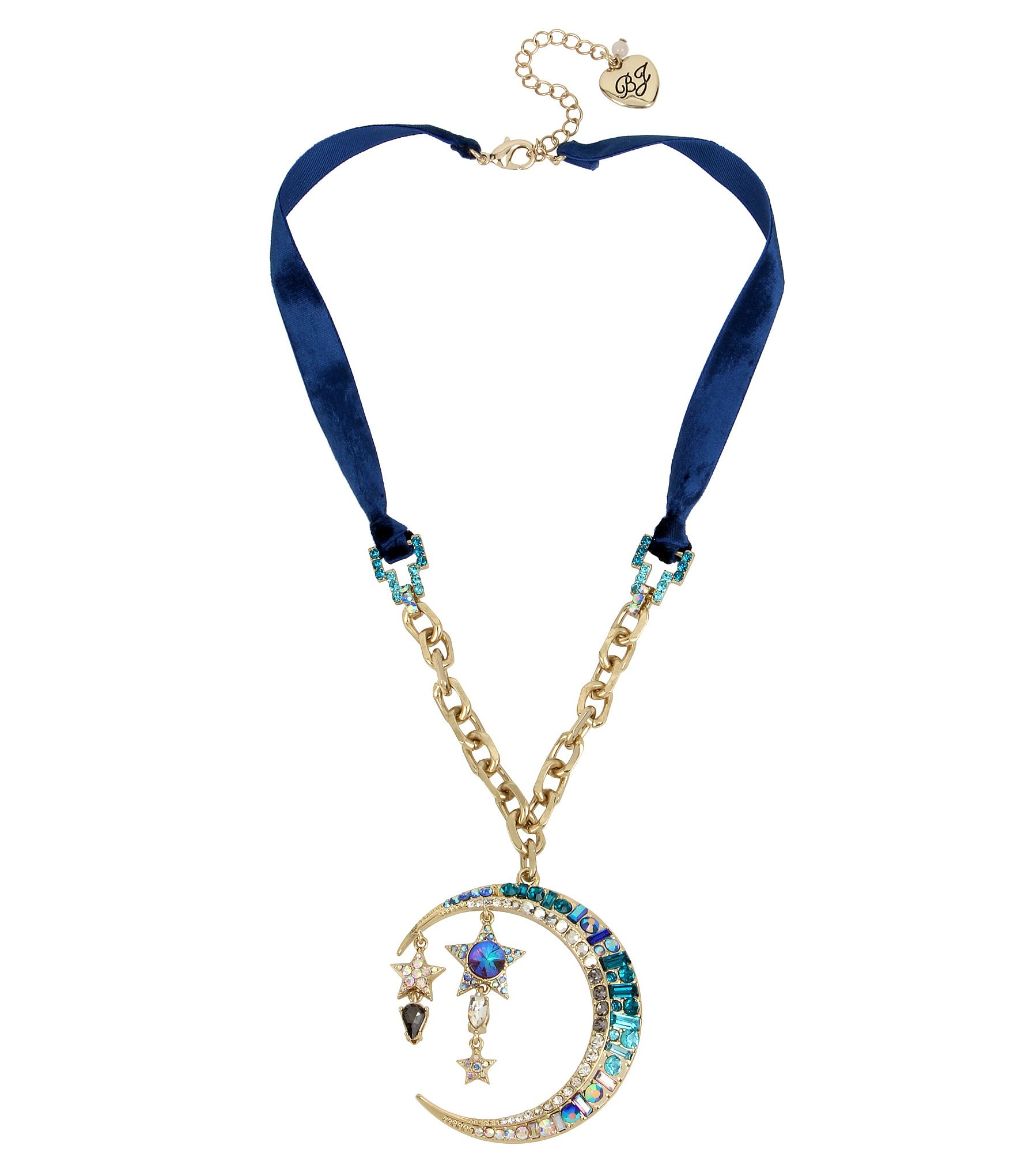 Betsey johnson celestial blue moon pendant necklace dillards mozeypictures Choice Image