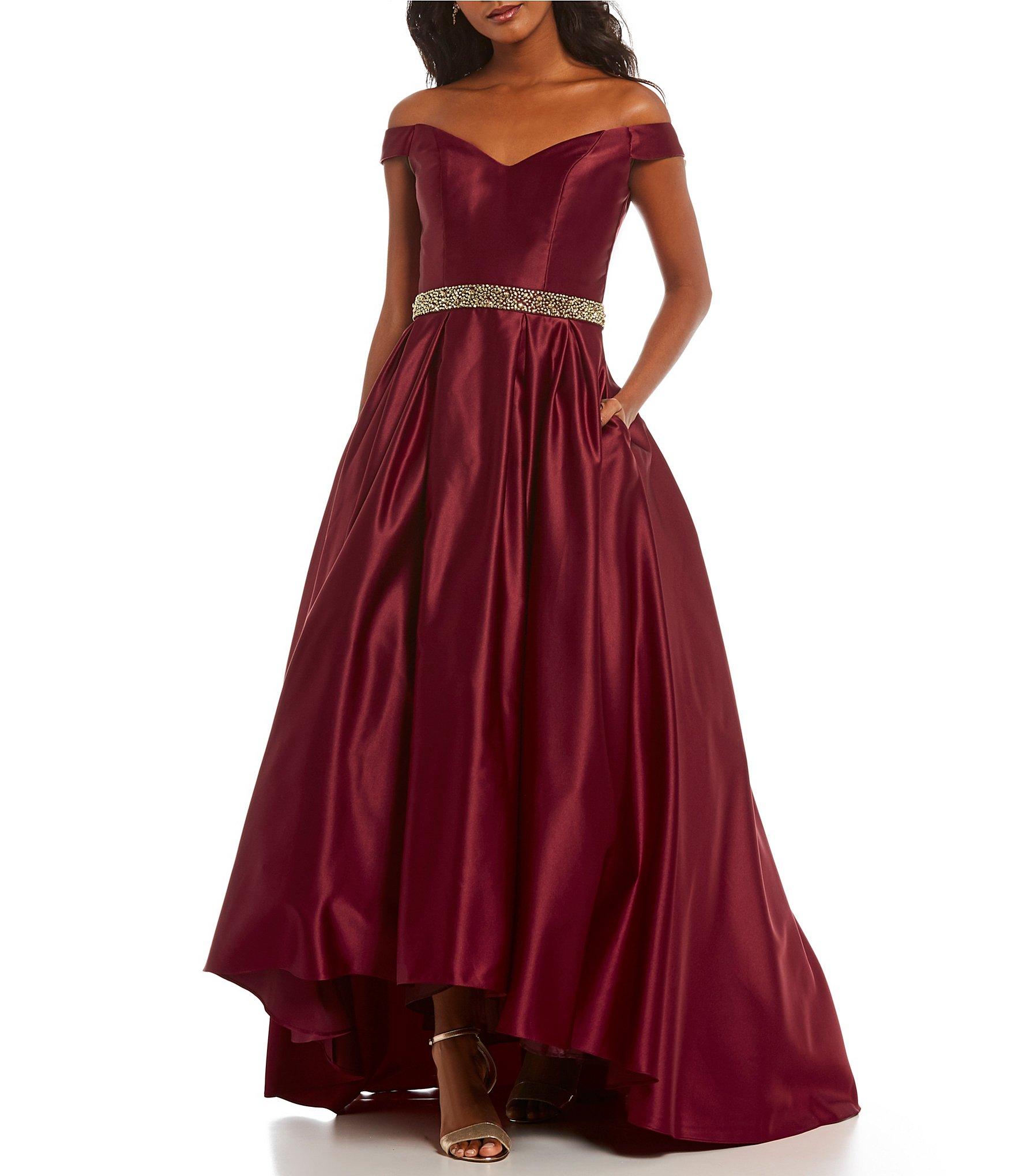 Red evening dress off shoulder 5 8 18