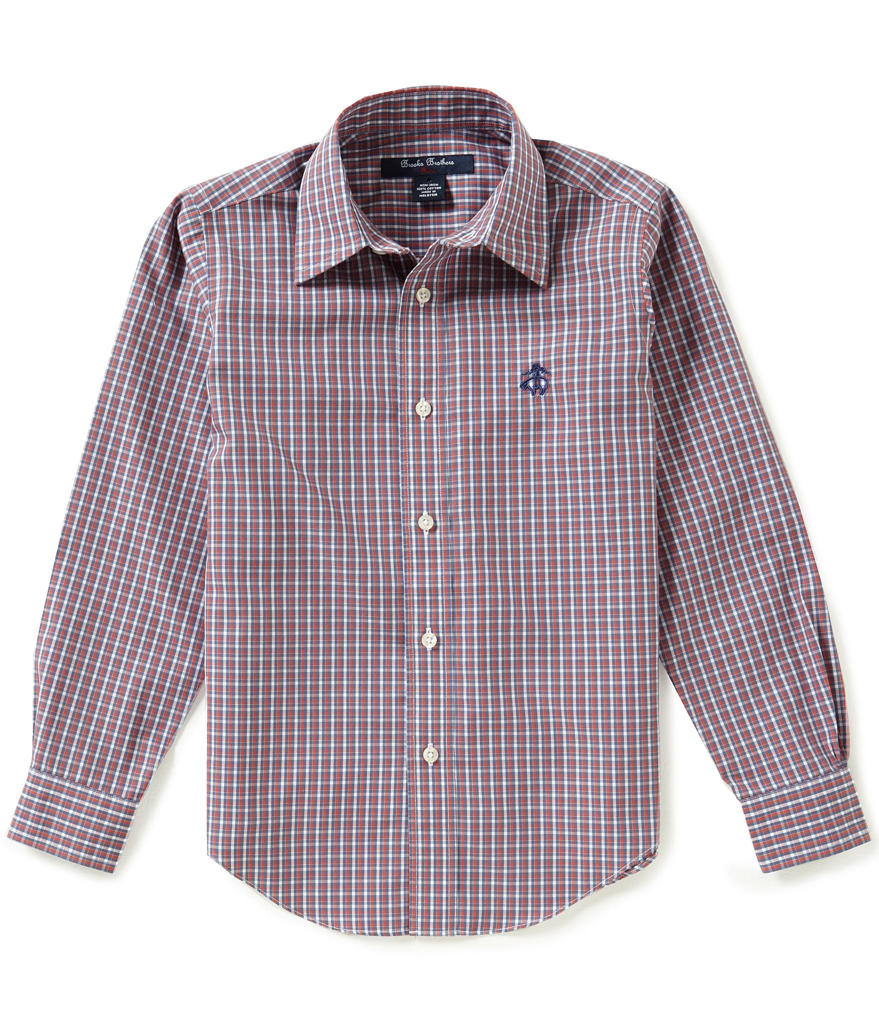 Brooks brothers little big boys 4 20 non iron checked long for Brooks brothers non iron shirt review