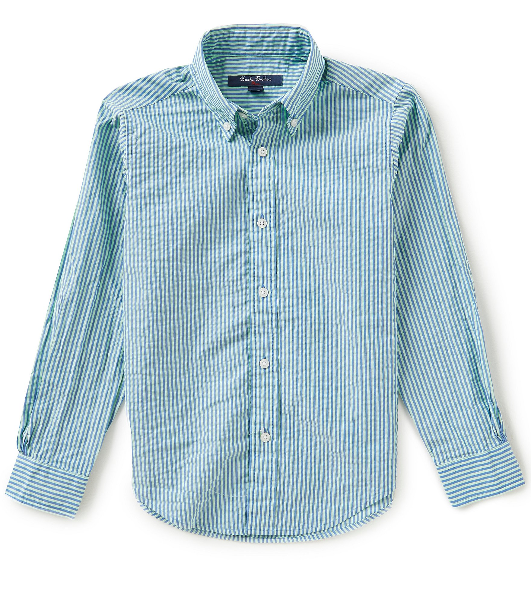 Brooks brothers little big boys 4 20 striped seersucker for Brooks brothers boys shirts