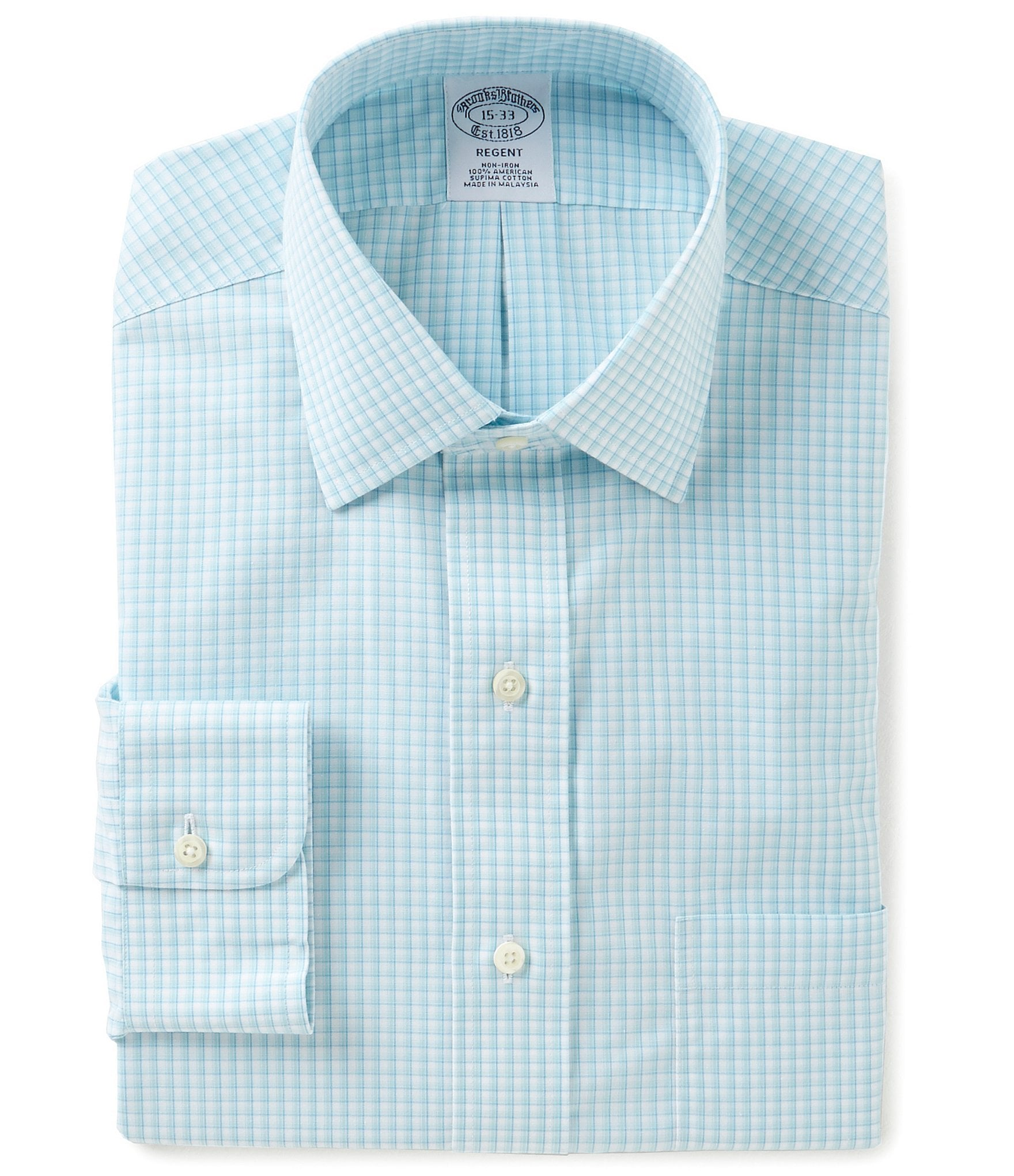 Brooks brothers non iron checked fitted classic fit spread for Brooks brothers non iron shirt review