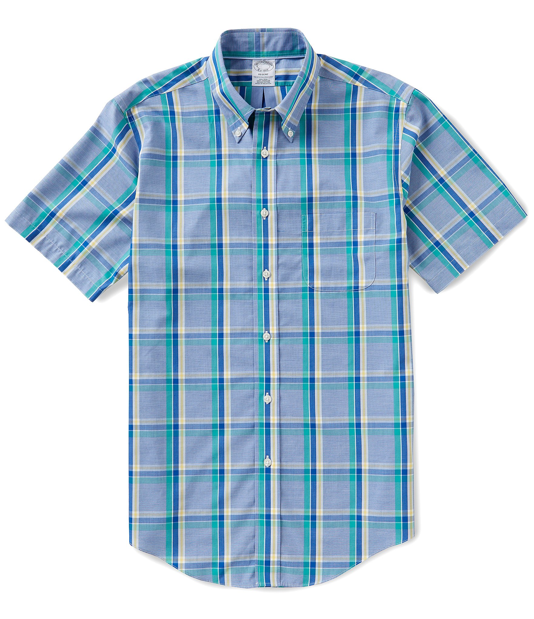 Brooks brothers non iron slim fit plaid short sleeve woven for Brooks brothers non iron shirt review