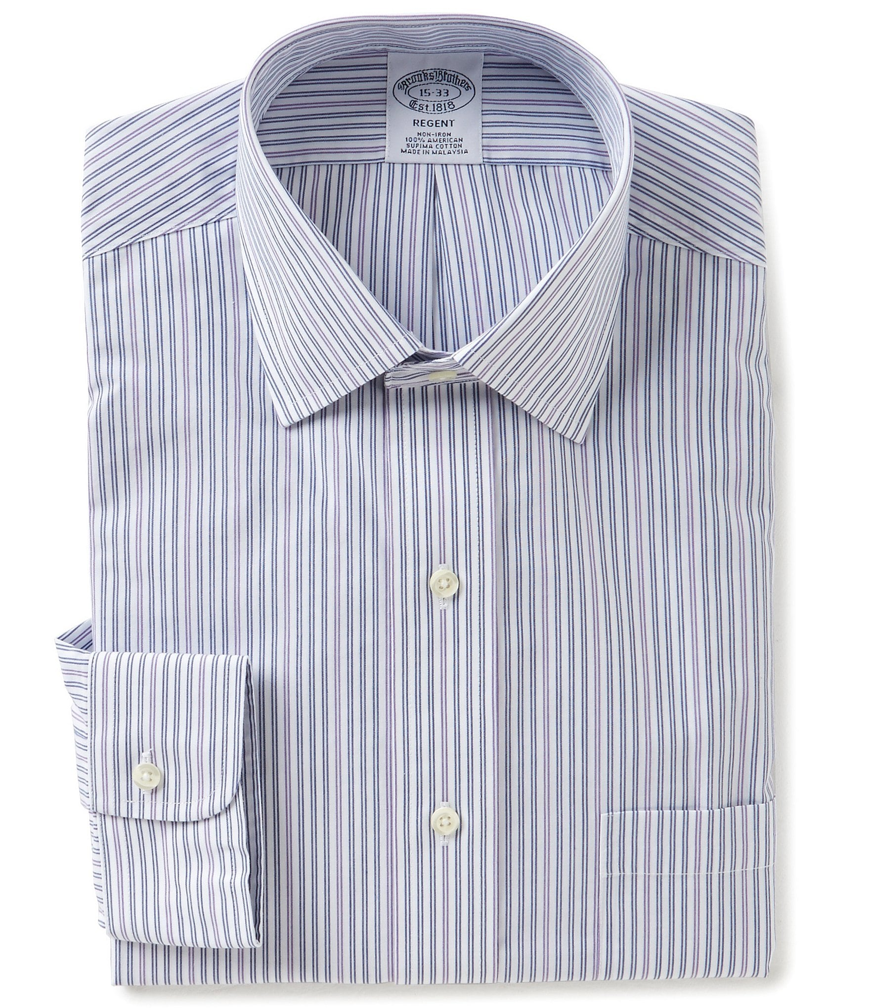 Brooks brothers non iron striped fitted classic fit spread for Brooks brothers non iron shirt review