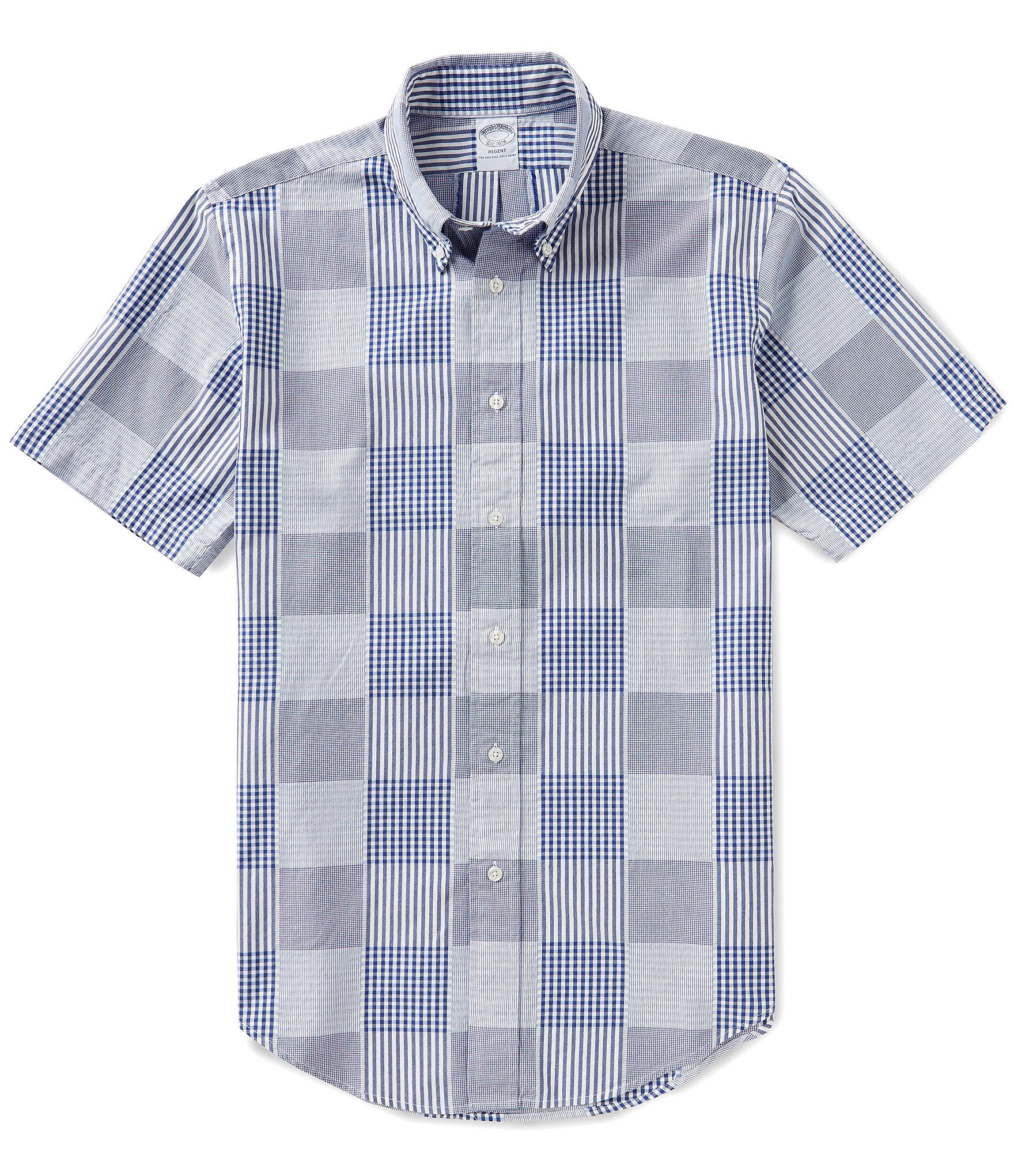 Brooks brothers patchwork slim fit short sleeve woven for Brooks brothers shirt size guide