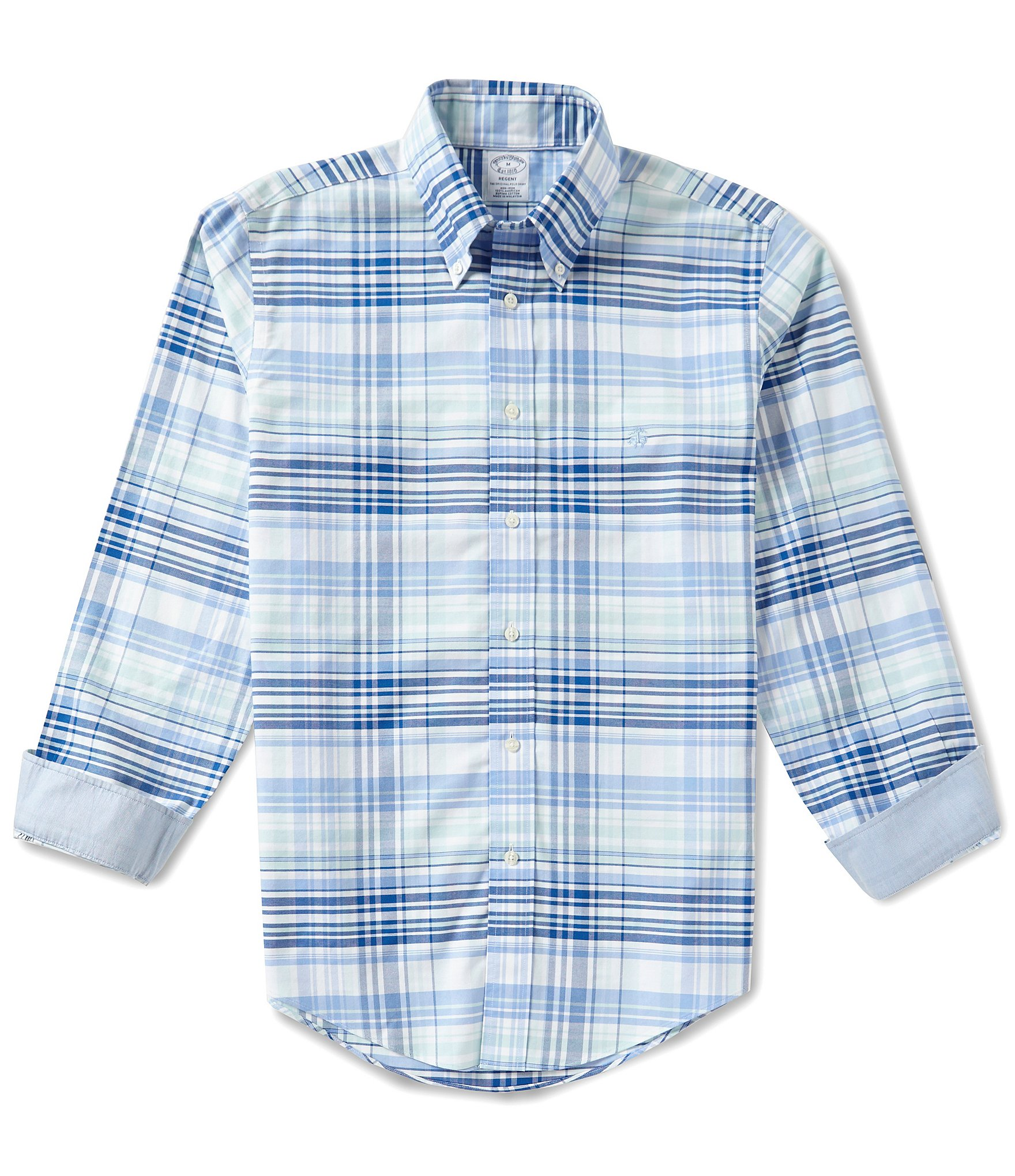 Brooks brothers slim fit oxford plaid long sleeve woven Brooks brothers shirt size guide