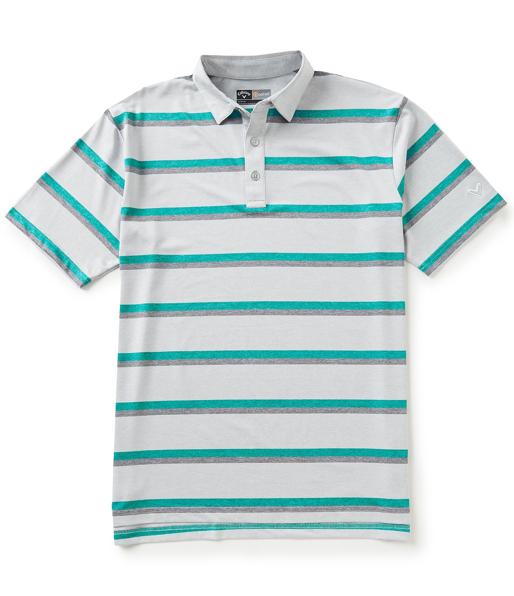 Callaway golf big tall heather striped short sleeve polo for Large tall golf shirts