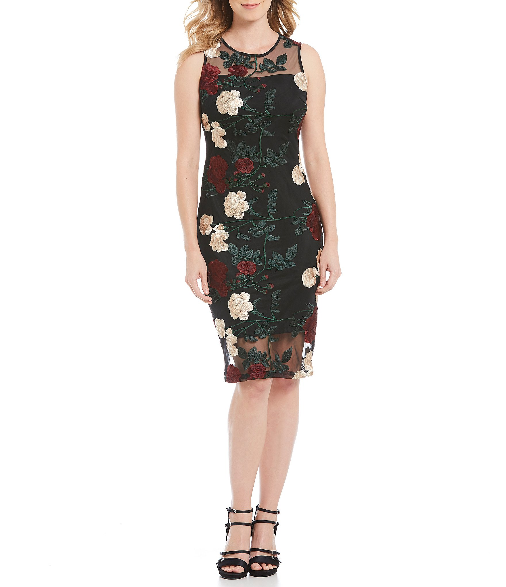 Calvin klein floral lace overlay shift dress