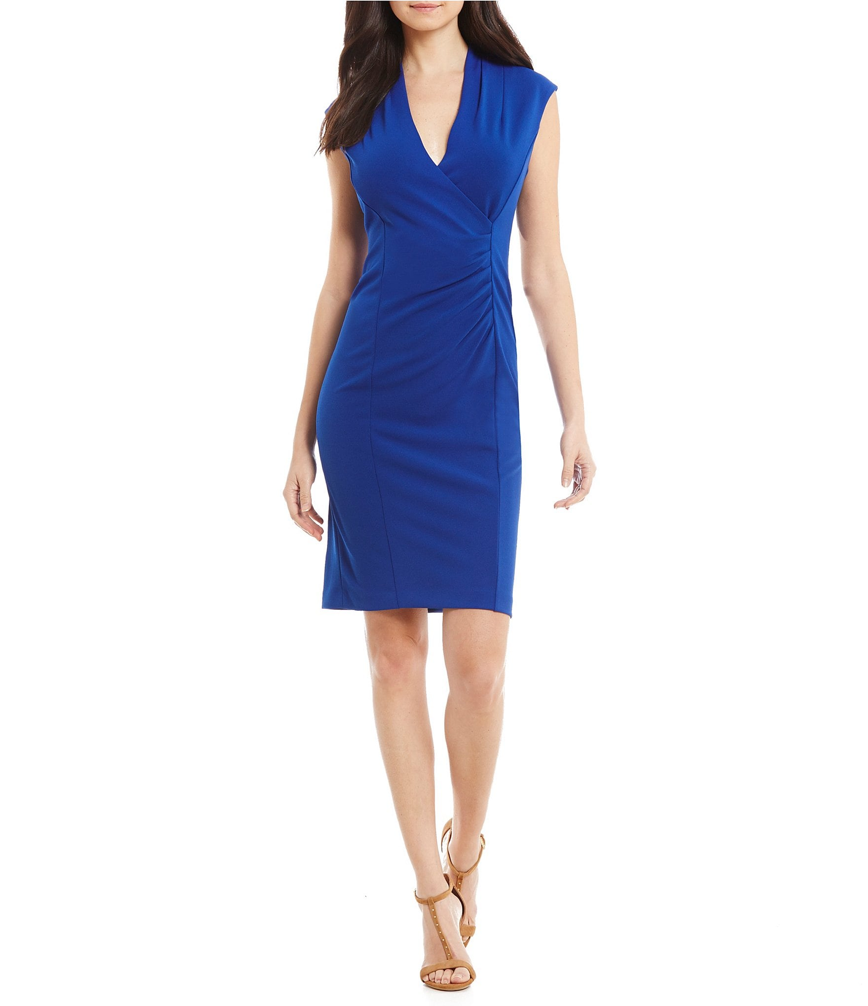 Calvin Klein Petite V-Neck Faux-Wrap Sheath Dress | Dillards