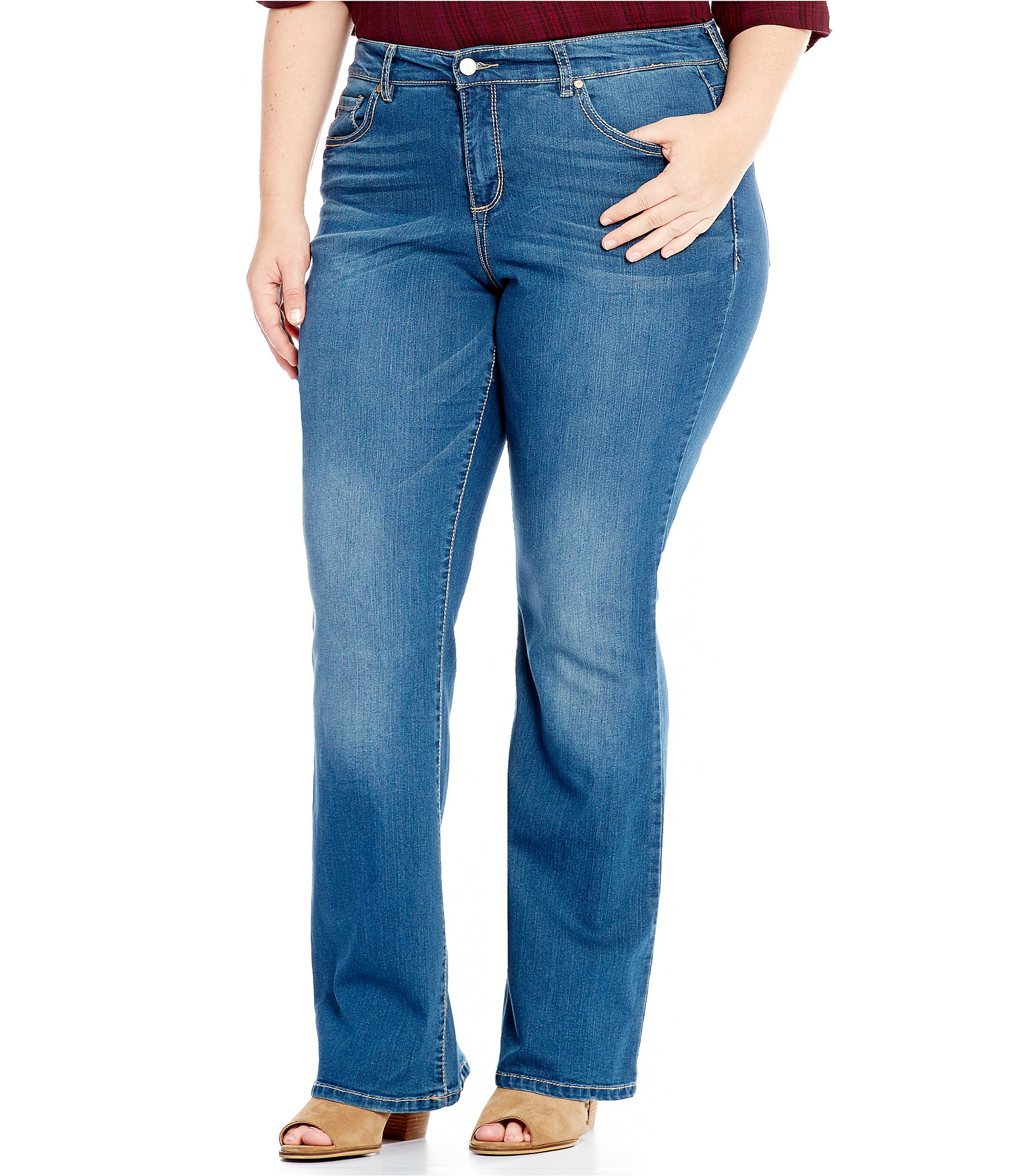 Code bleu plus soho bootcut embroidered back pocket jeans