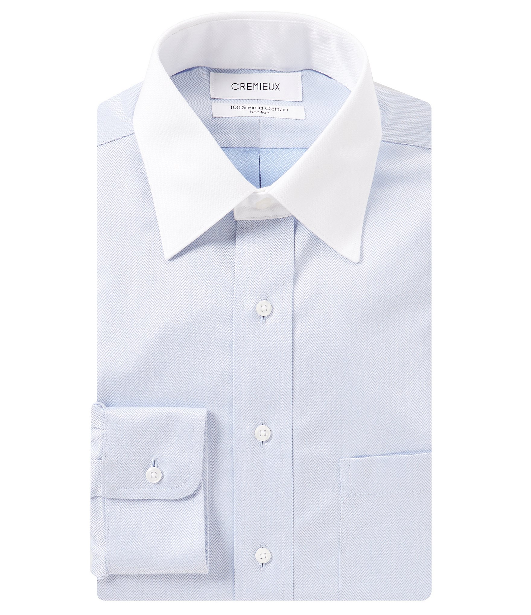Cremieux non iron fitted classic fit spread collar for White herringbone dress shirt