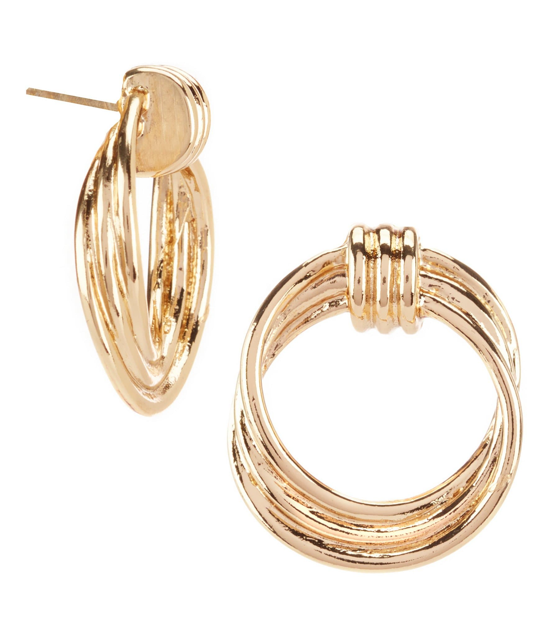 Dillards earrings : Dillard?s tailored rib ring doorknocker hoop earrings