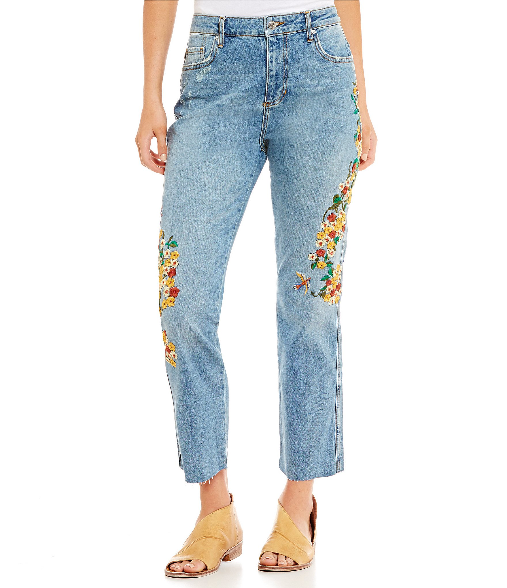 Free people floral embroidered girlfriend jeans dillards