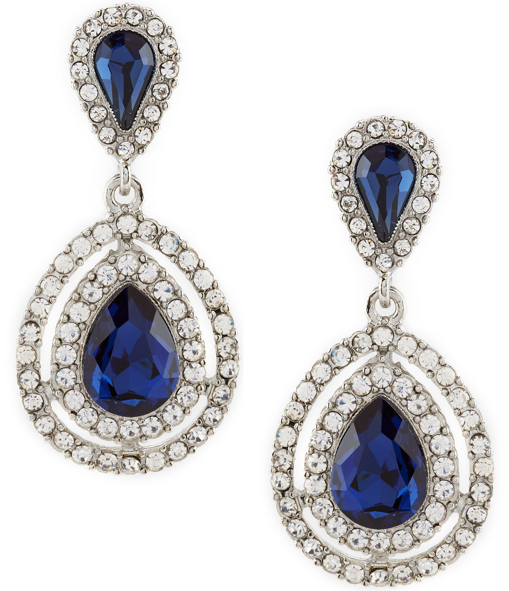 Clip On Earrings Store Antique Silver and Montana Blue Crystal Open Teardrop Vintage E4TjIePQ