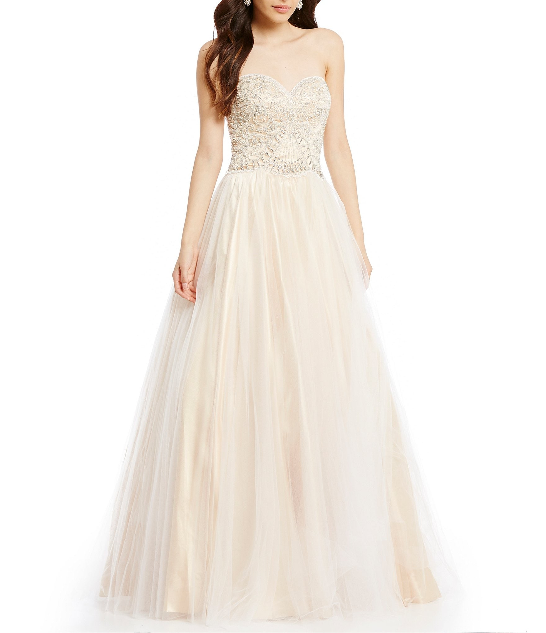 Glamour by Terani Couture Strapless Beaded Sweetheart
