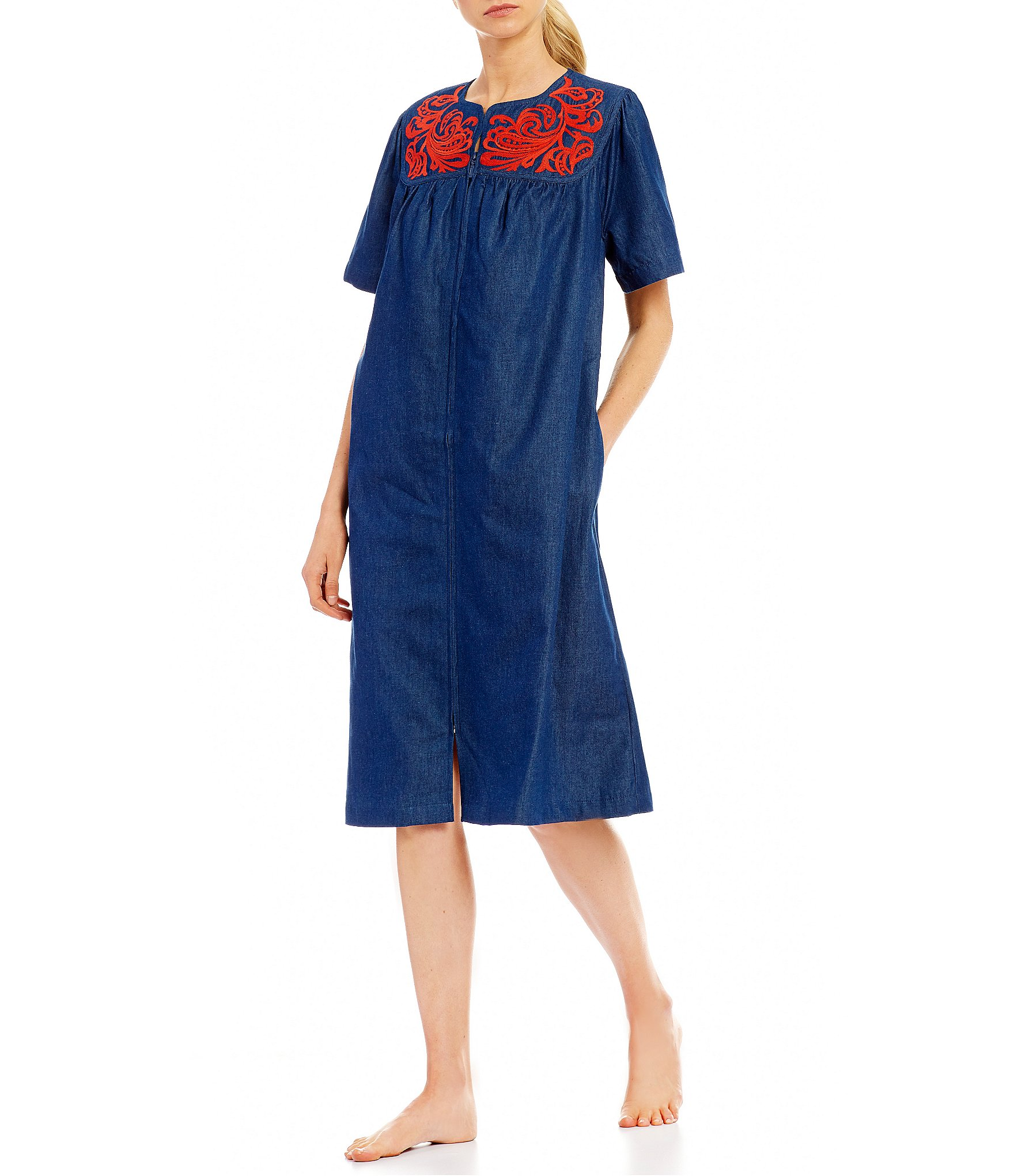 Go Softly Paisley Embroidered Denim Patio Dress Dillards