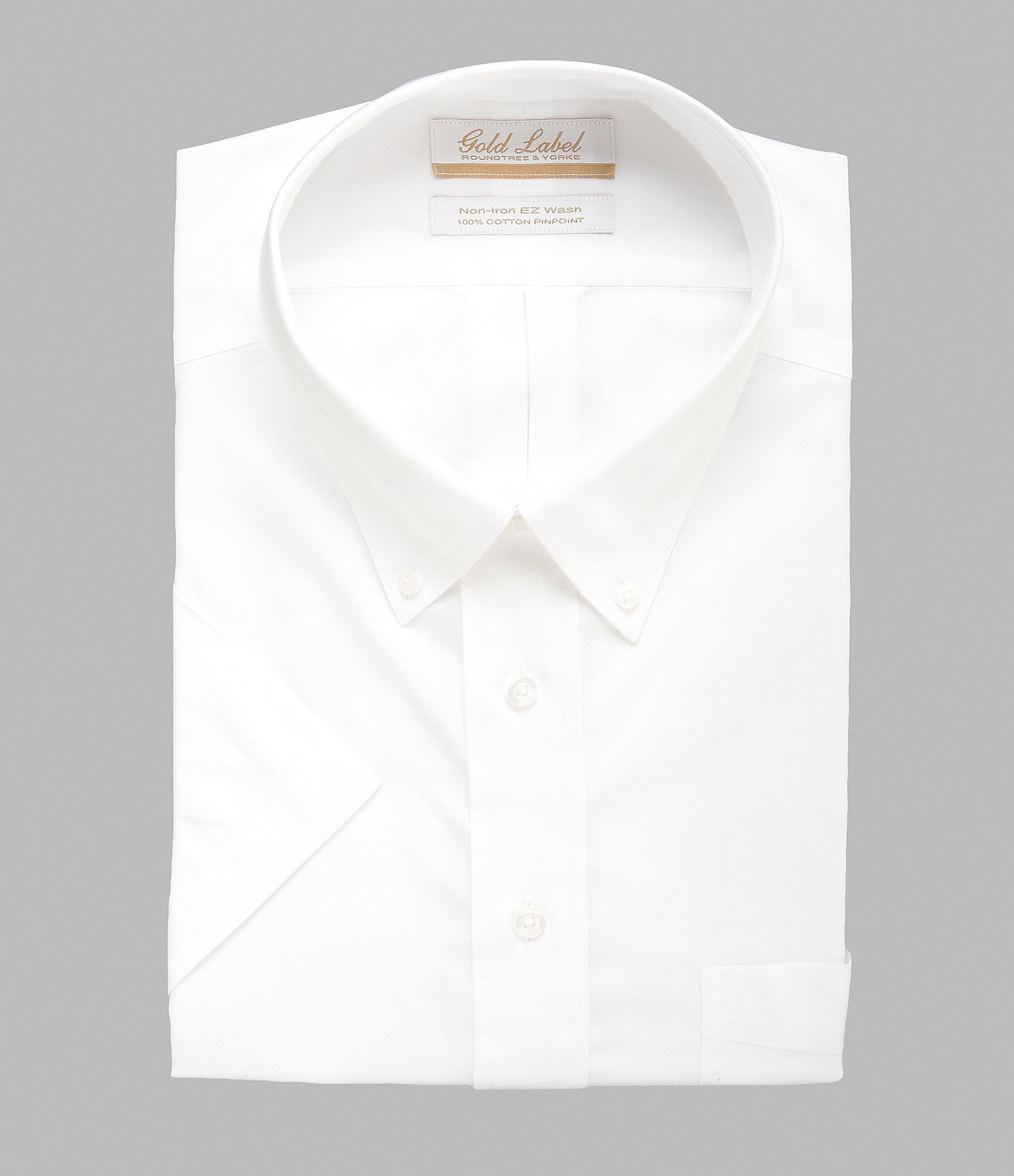 Gold label roundtree yorke big tall non iron solid for Fitted short sleeve dress shirts