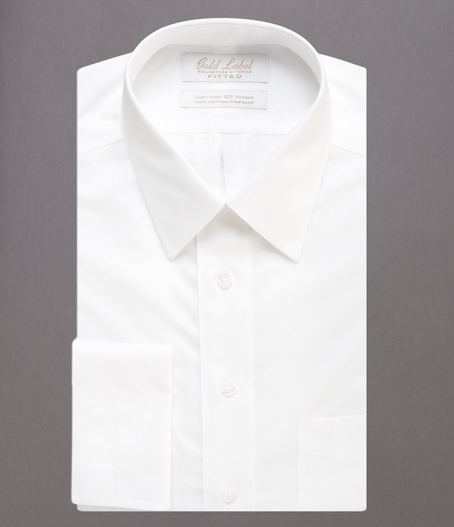 Gold label roundtree yorke solid non iron fitted classic for White dress workout shirt