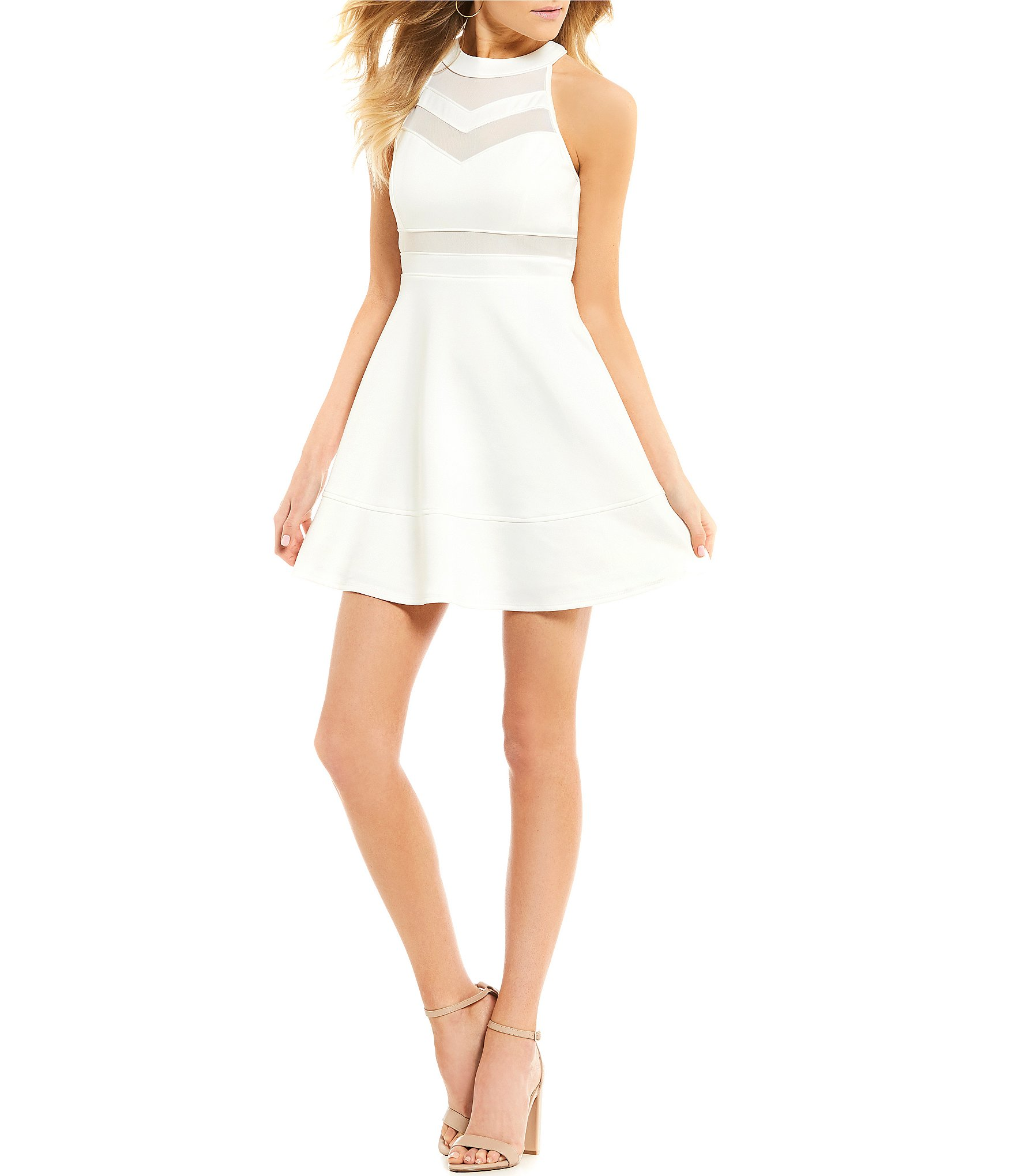 Honey and Rosie Sleeveless High-Neckline Illusion Skater Mini Dress