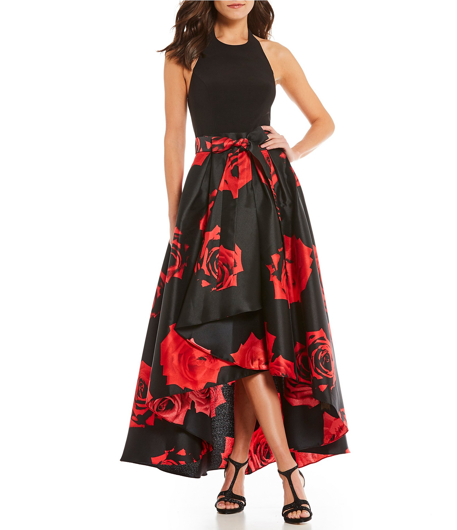 Black and red cocktail dresses for women