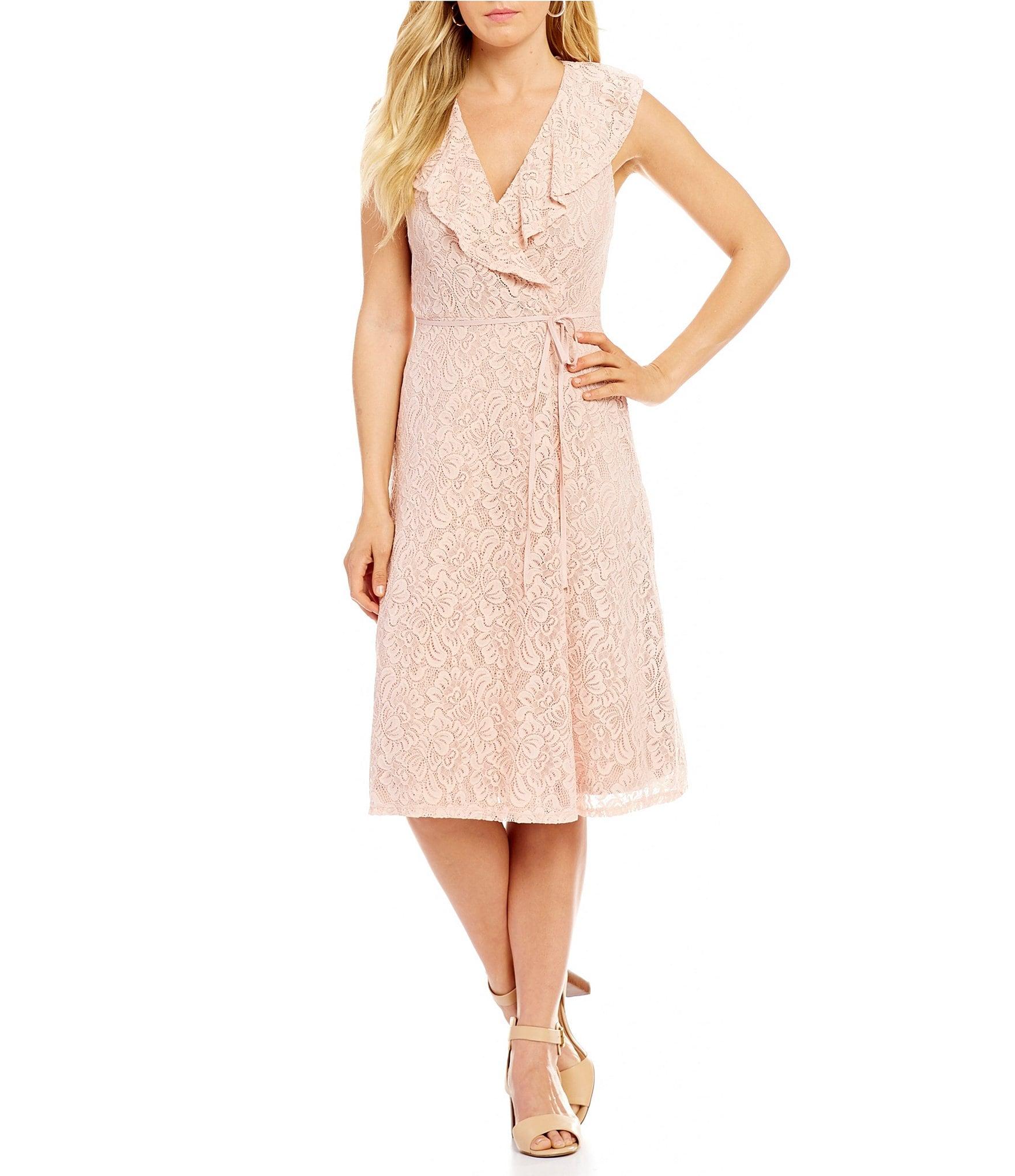 Ivanka Trump Ruffle Collar Faux Wrap Lace Dress