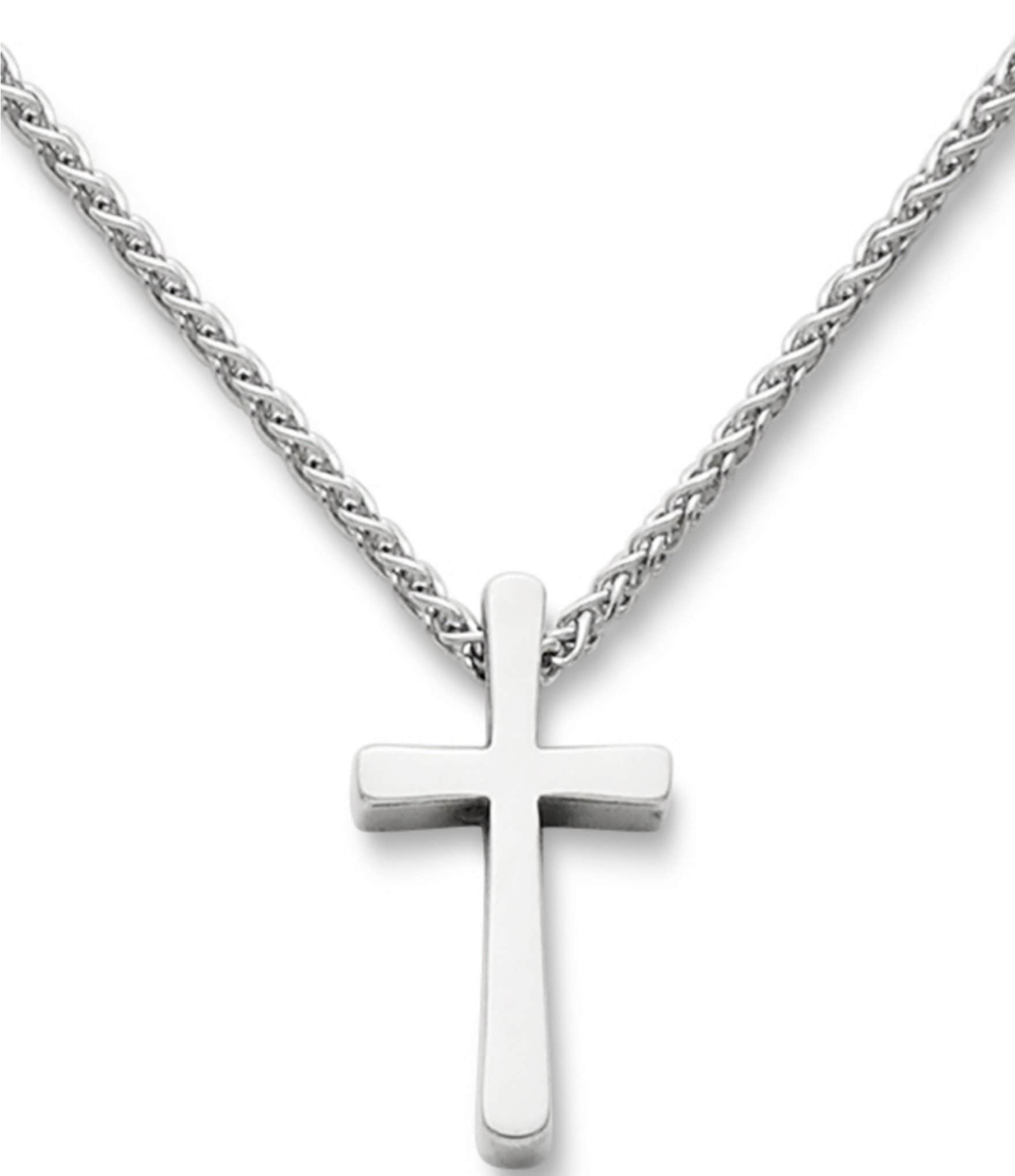cross pendant har necklace chain silver sterling on plain itm inches