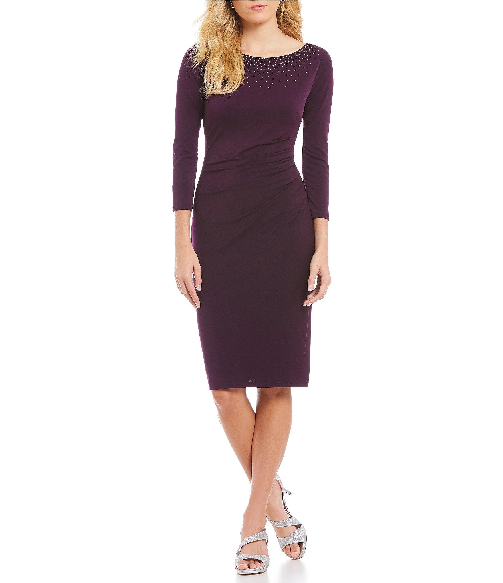 Purple Sheath Dresses