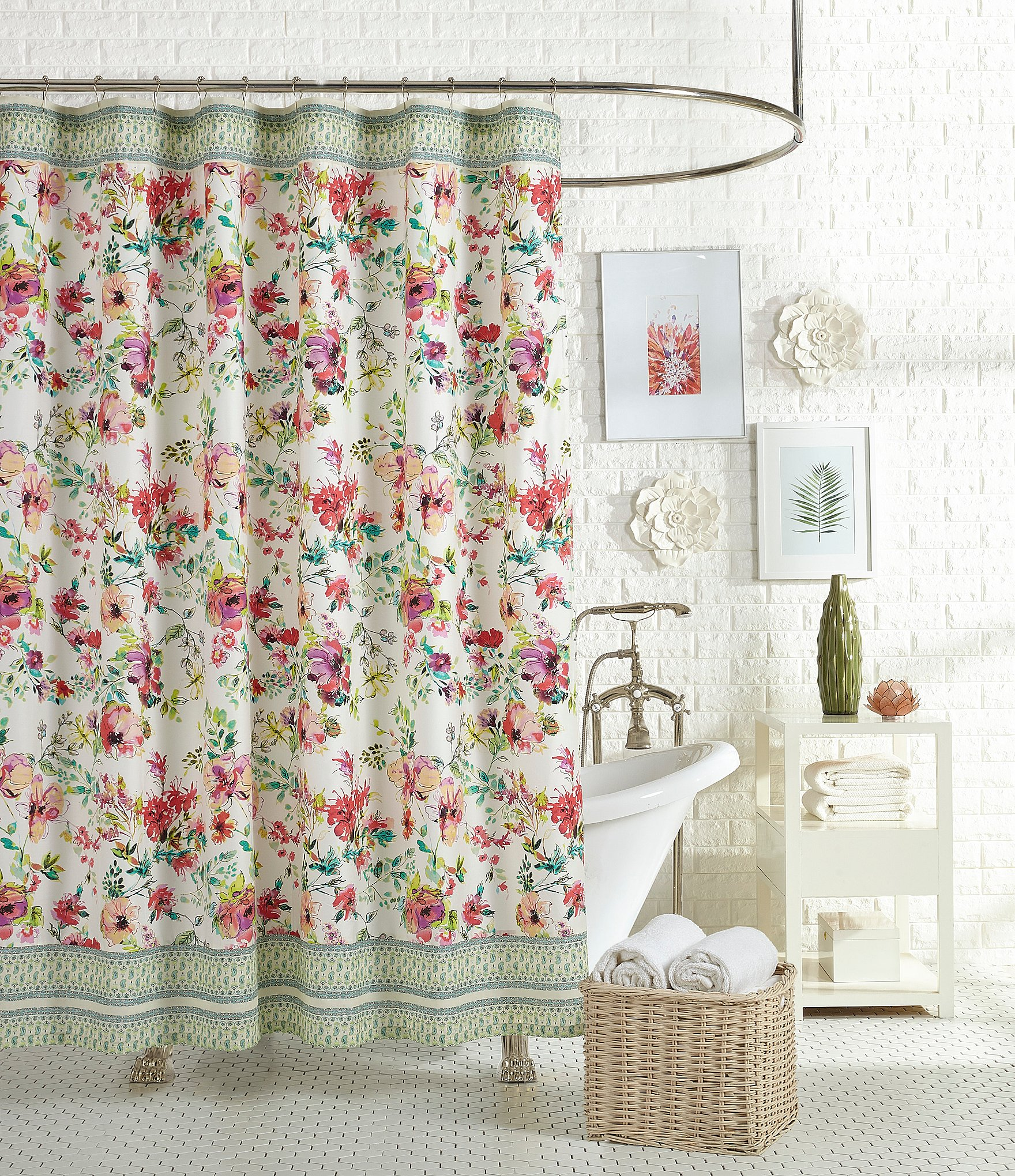 Jessica Simpson Watercolor Garden Floral Paisley Shower Curtain