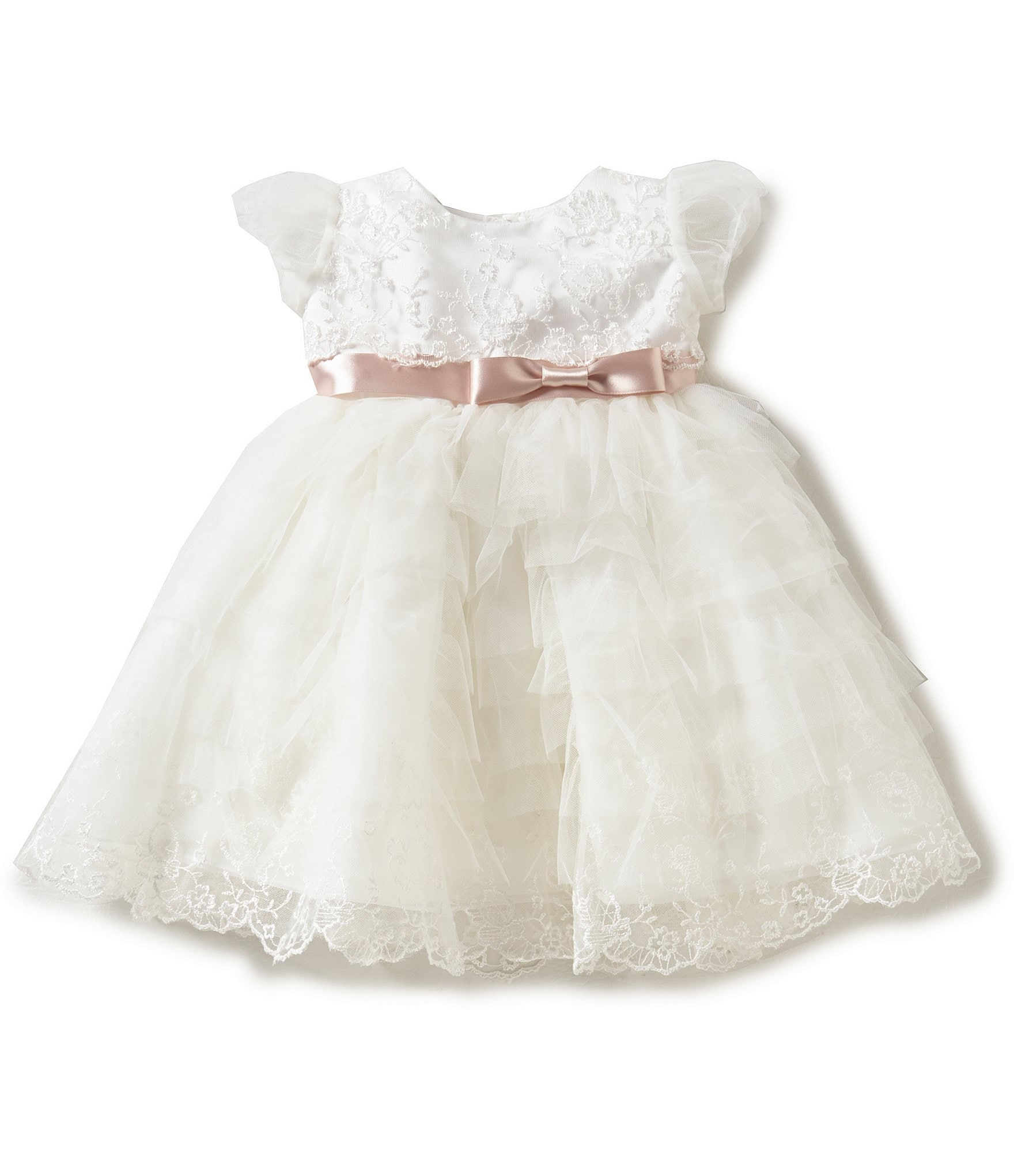 Joan Calabrese Baby Girls 6 24 Months Lace Satin Ribbon