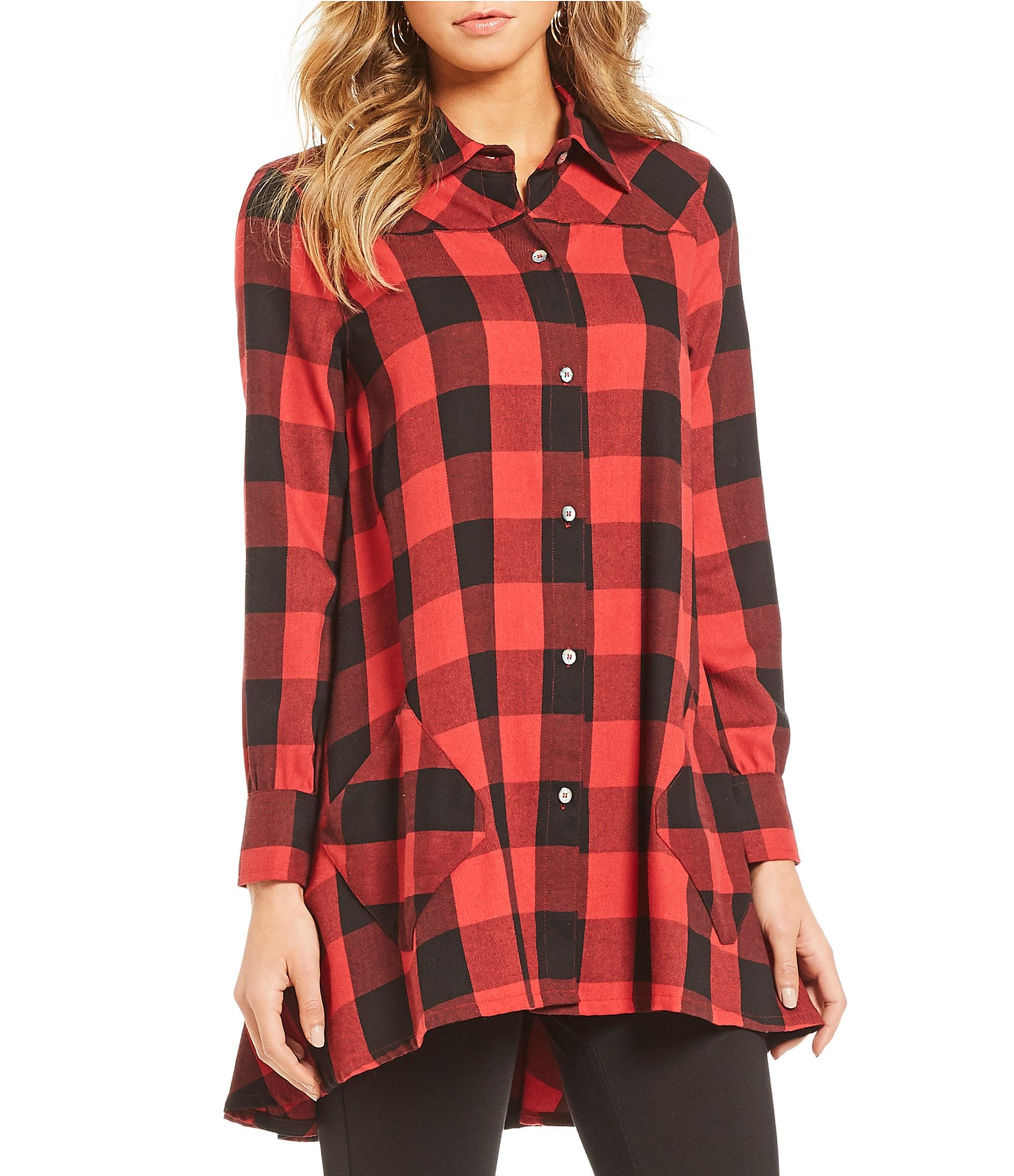 red and black buffalo check womens shirt