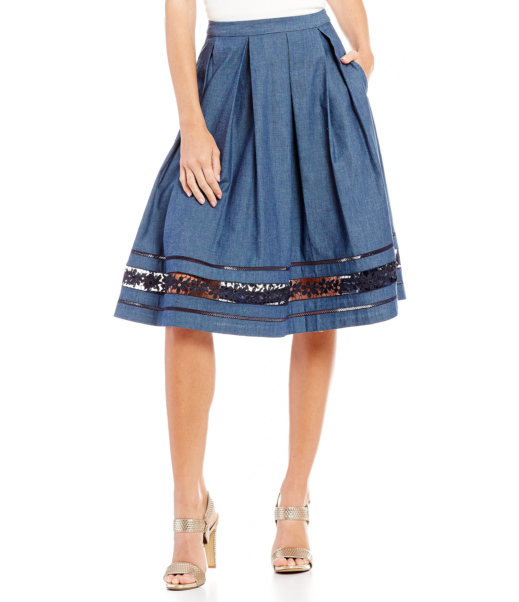 KARL LAGERFELD PARIS Embroidered Denim Skirt  Dillards