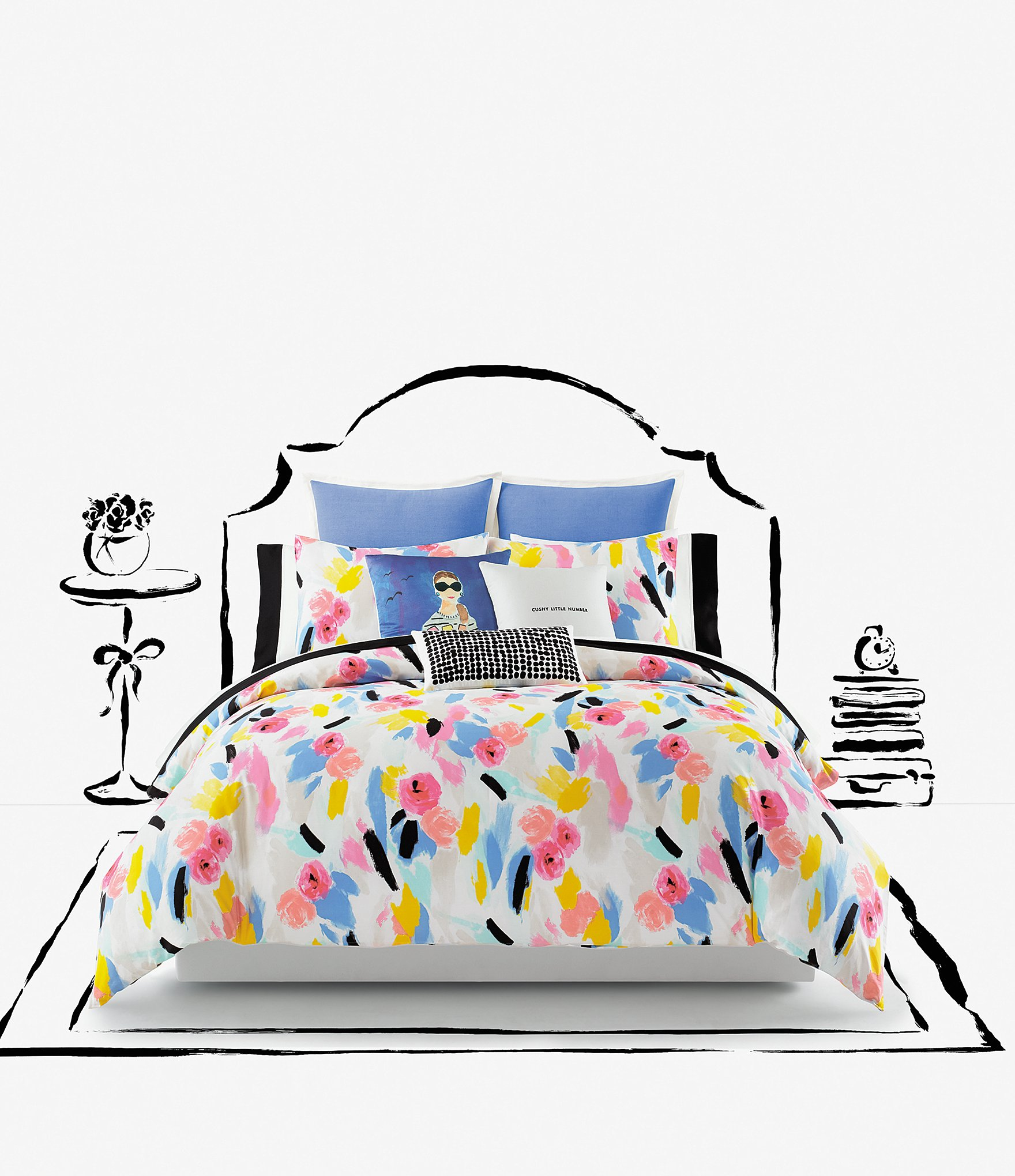 Kate Spade New York Paintball Floral Comforter Mini Set