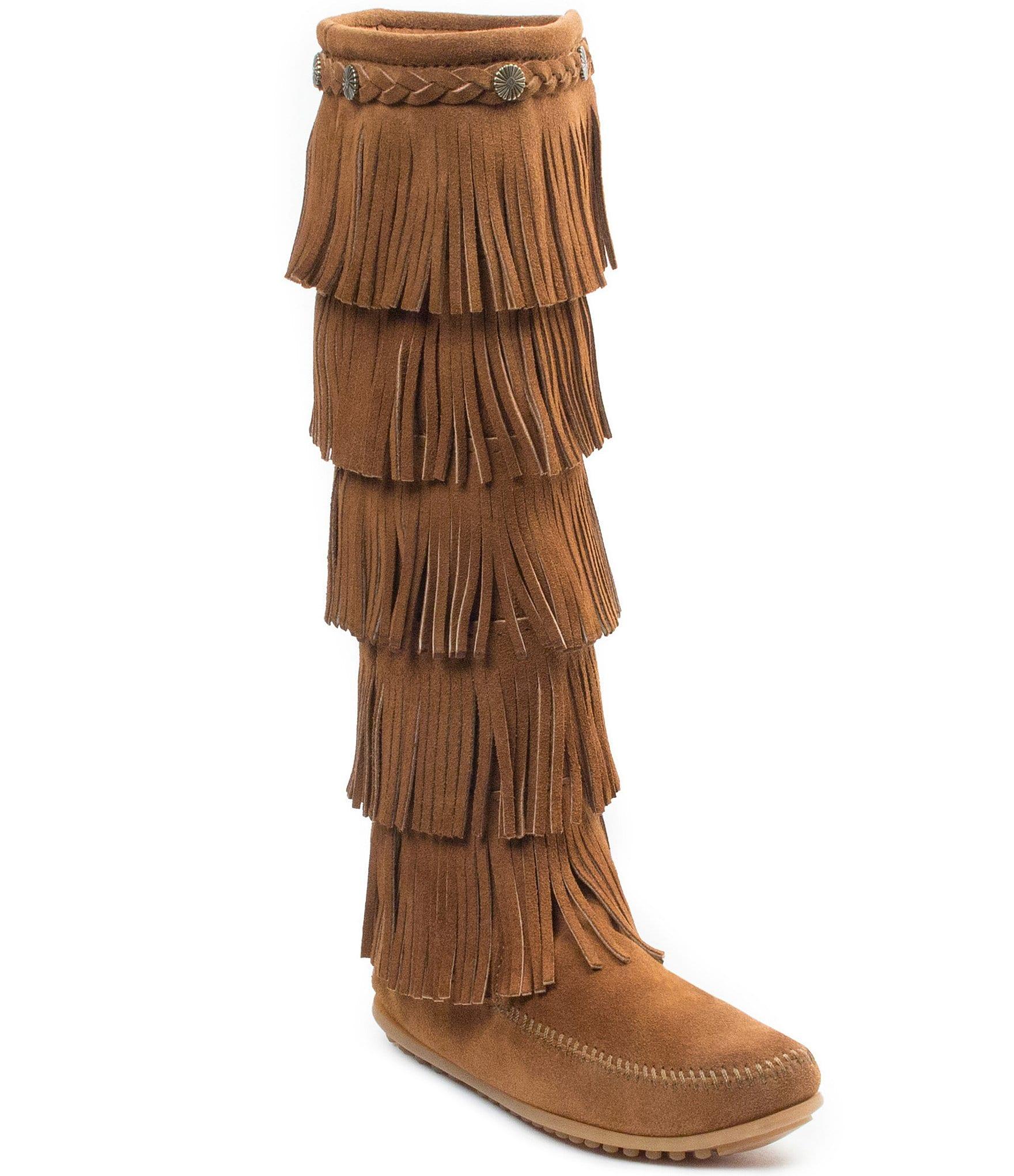 Minnetonka 5-Layer Fringe Boots | Dillards