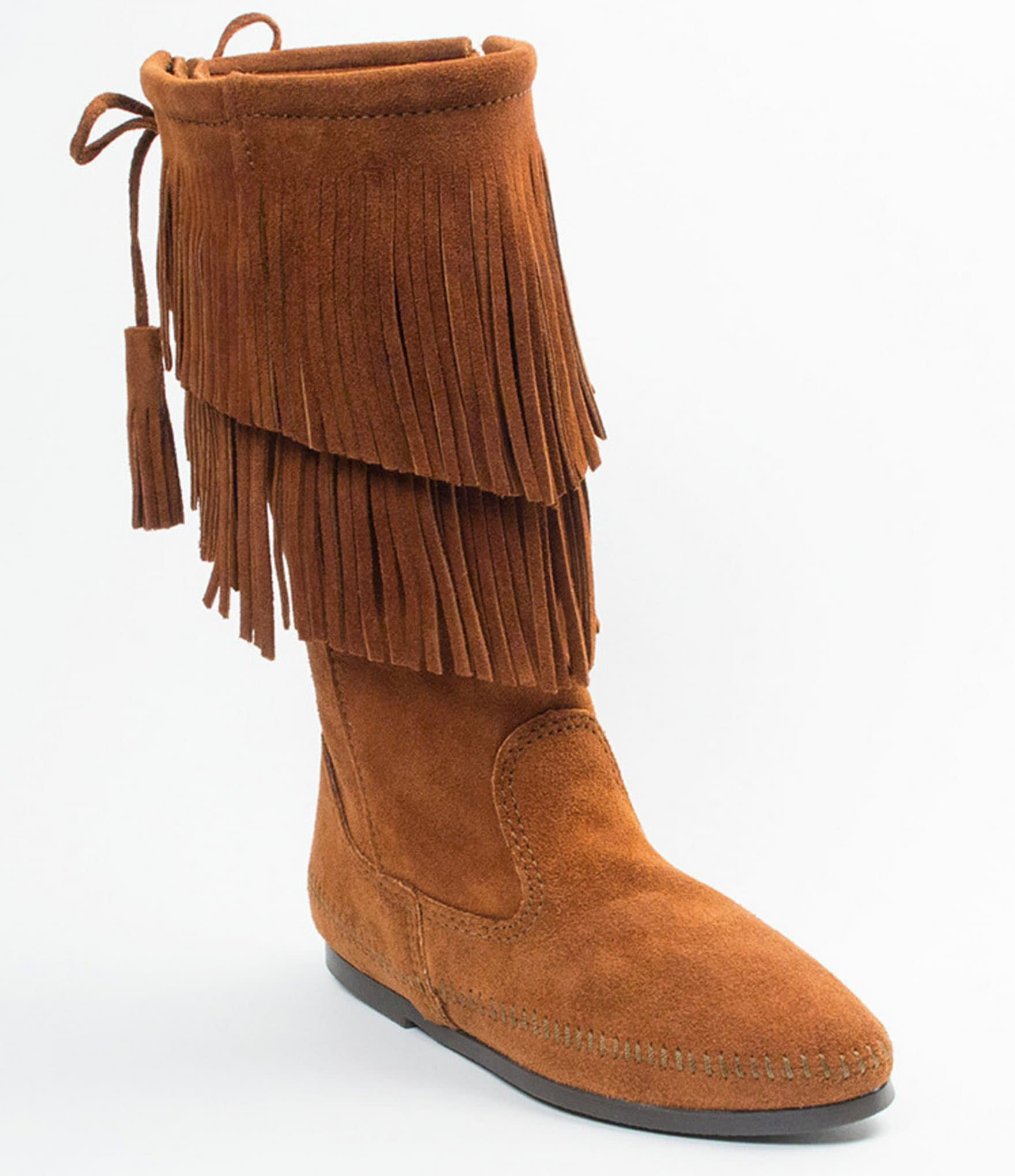 Minnetonka suede leather knee high tall lace up moccasin fringe boots - Minnetonka Suede Leather Knee High Tall Lace Up Moccasin Fringe Boots 6