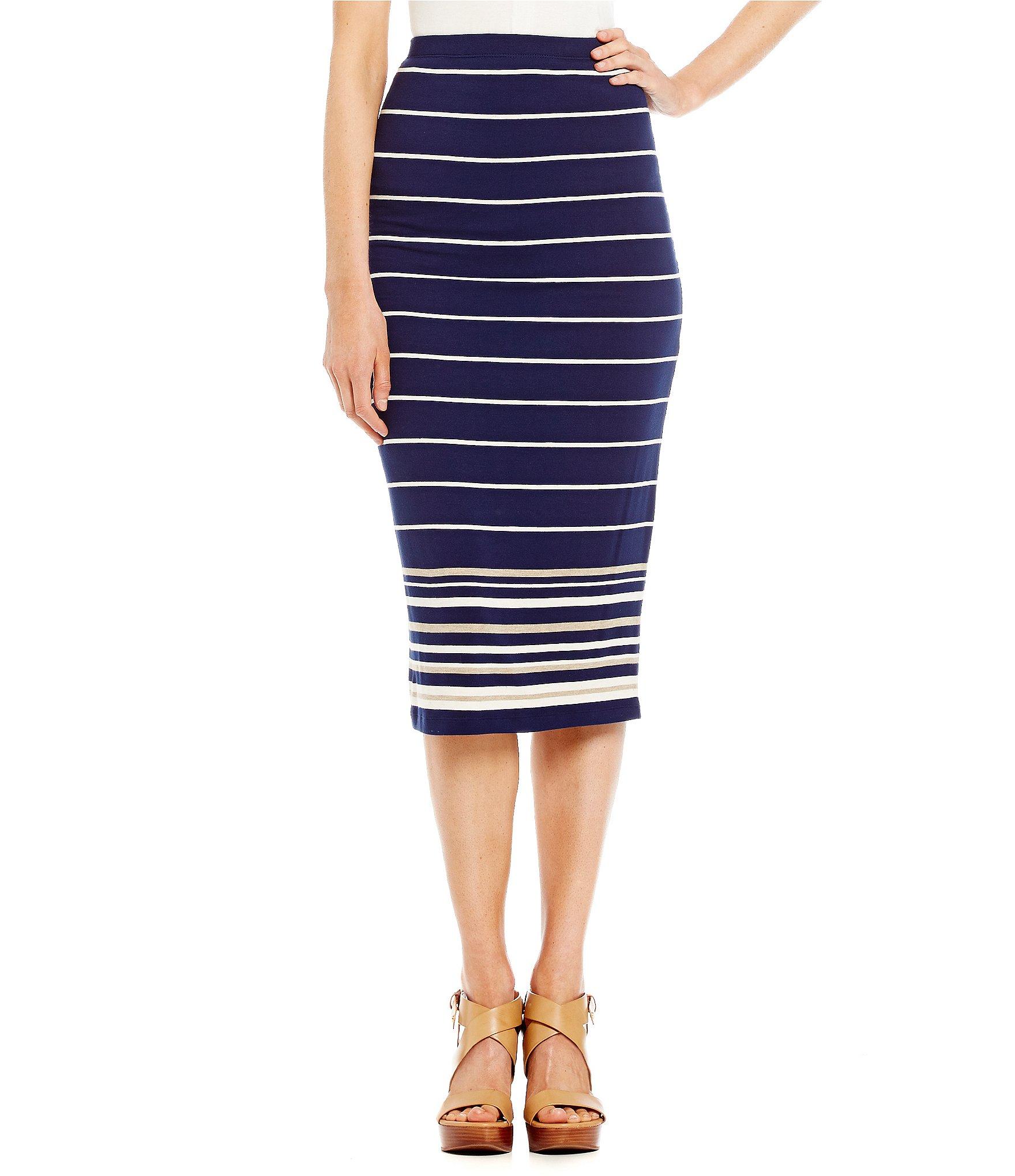 m s s p striped knit jersey pencil skirt dillards